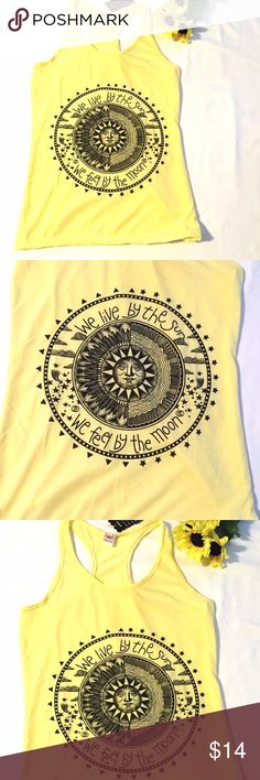 """listing! Sun and Moon Racerback Tank  Yellow cotton blend racerback tank top. Armpit to armpit 16"""" length 28"""". NWOT City to Seaside Tops Tank Tops"""