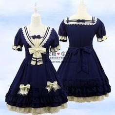 LOLITA洛丽塔洋装茵河的帆影茶会服夏日海军装学院风公主裙连衣裙