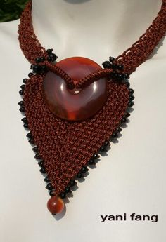 ❤ 4ever #macrame # necklace # with carnelian and black agate..