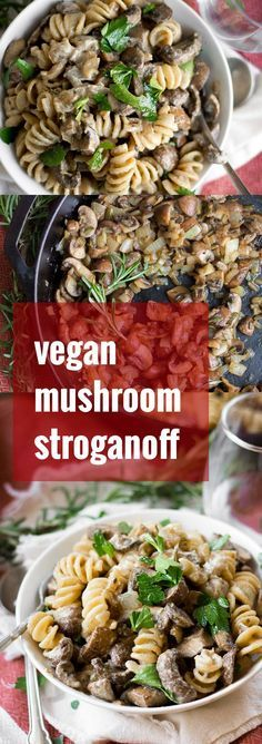 A savory mix of sauteed cremini mushrooms, fresh herbs and luscious cashew cream is tossed with noodles to create this hearty and comforting vegan mushroom stroganoff.