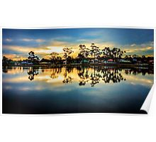Sunset Reflections at Lake Neangar - Eaglehawk, Victoria Poster