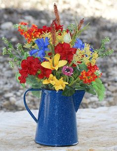 Summer Home Decor Coffee Pot Graniteware Style by LoneStarPetals, $49.95