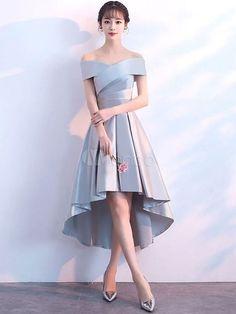 b6a9cd9bd1 Cocktail Dresses Light Grey High Low Short Prom Dress Satin Asymmetrical  Graduation Dress