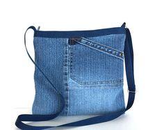Cross body zipped bag, Recycled jean purse, Top zipper beg, Blue denim side bag, Walking purse, Vegan cross over purse, jean shoulder bag