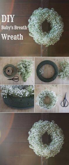 Wedding Flowers: 40 Ideas to Use Baby's Breath diy baby's breath wedding wreath for decoration i Arte Floral, Deco Floral, Floral Design, Wedding Wreaths, Craft Wedding, Wedding Ideas, Christmas Wedding Flowers, Wedding Venues, Wedding Planning