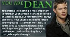 Which Supernatural Character Are You? I got Dean... huh, I woulda thought Sam, but I'm not going to complain!! ;)