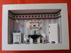 Quadro de cozinha tipo cenário,feito de madeira mdf, pintado com tinta PVA,miniaturas em madeira mdf,pintadas à mão,miniaturas em biscuit.Quadro encerado e com vidros de proteção. R$ 170,00