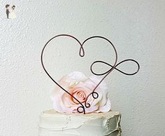 INFINITY HEART Wedding Cake Topper in OXIDIZED COPPER Finish Wire, Infinity Cake Decoration, Bridal Shower Cake Decoration, Anniversary Cake Topper, Wedding Decoration, by AntoArts - Cake and cupcake toppers (*Amazon Partner-Link)