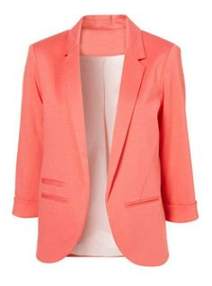 Not crazy about this color, but I like this blazer! Pink Boyfriend Ponte Rolled Sleeves Blazer by: SheInside Fashion Moda, Look Fashion, Womens Fashion, Autumn Fashion, Trendy Fashion, Spring Fashion, Fashion Shoes, Girl Fashion, Fashion Trends