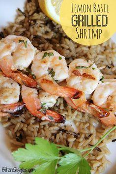 Lemon Basil Grilled Shrimp - Flavorful shrimp marinated in lemon, basil and garlic - then grilled to perfection!