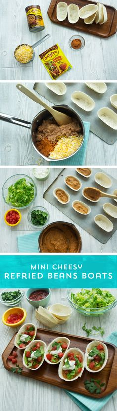 Need a party snack or a quick bite? These Mini Cheesy Refried Bean Boats are the perfect choice! With just 4 ingredients, these min boats couldn't be easier! Mix Old El Paso™ Refried Beans and Taco Seasoning with cheese and cook until thoroughly heated. Then fill Old El Paso™ Mini Taco Boats™ with the bean mixture, distributing evenly. Top with your favorite fresh toppings, and you're all set! Ready in just 10 minutes!