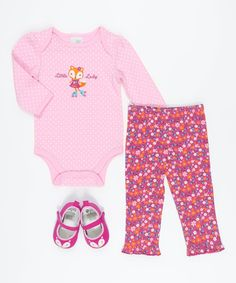 Look at this Pink & Fuchsia 'Little Lady' Fox Bodysuit Set on #zulily today!