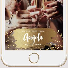 Gold Paint & Gold Confetti Custom Birthday by SnapFiltersCompany