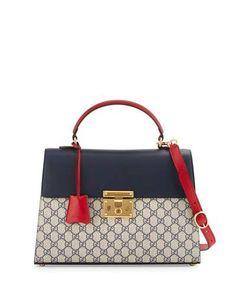 V2ZTQ Gucci Padlock GG Supreme Top-Handle Satchel Bag, Beige/Blue/Red