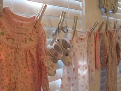 baby shower clothesline with mod-podged clothespins