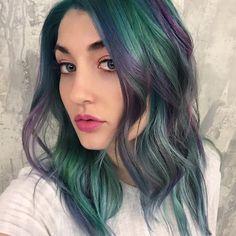 Purple and Green hair color design by @breanna_anythingbutbasic green hair purple hair hair painting hotonbeauty.com