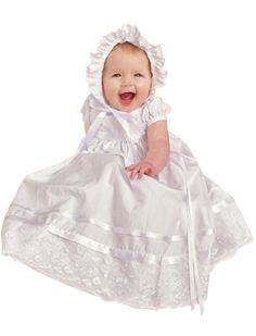 Maria Christening or Baptism Gown for Girls, Made in USA 2-piece set includes dress and bonnet.. Order by chest size: Newborn=15, 3 Months=16 1/2, 6 Months=17 1/2, 9 Months=18, 12 Months=18 1/2, 18 Months=19 1/4, 24 Months=20.. Color: White. Embroidered organza lace overlay on bodice, hem and bonnet. Ribbon sash finished with a flower-topped satin bow at front. Rows of satin ribbon on skirt... #One_Small_Child #Apparel