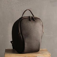 Handmade Coffee Small Top Grain Leather Travel Rucksack School Backpack Casual Daypack SQ04