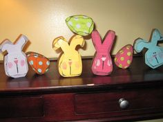 Bunny Rabbit Easter Egg Set Spring Decor Wood by allysatticcrafts, $20.00