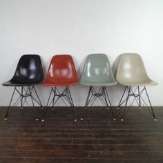Set of 4 DSR side chairs designed by Charles Eames and made by Herman Miller in the late 50s/early 60s. Colours are light greige, seafoam green, terracotta and black. Original fibreglass shells mounted on shockmounts with black powder coated Eiffel bases. The contemporary version of this chair (manufactured by Vitra) is made of polypropylene, which in our opinion, is not a patch on these original fibreglass models, which age beautifully. ...