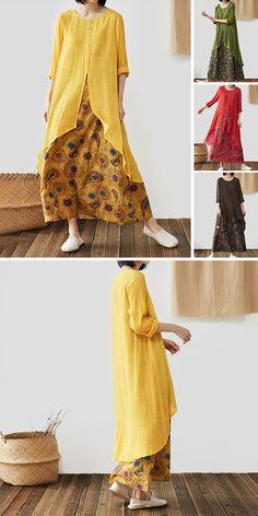 ccabbea90067 Vintage Flower Print Patchwork Long Sleeve Plus Size Maxi Dress Moda Hijab