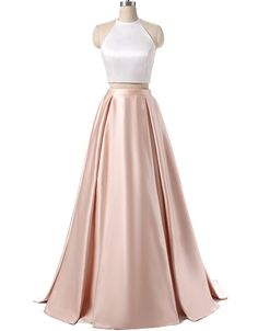 Two Piece Prom Dresses, Satin Halter Formal Dresses, Stylish Party Dresses 2017