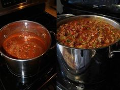 Ingredients: 2 pounds fresh ground beef 1 quart tomato juice 1 (29-ounce) can tomato purée 1 (15-ounce) can red kidney beans, drained 1 (15-ounce) can pinto beans, drained 1 medium-large onion, chopped (about 1 1/2 cups) 1/2 cup diced celery 1/4 cup diced green bell pepper 1/4 cup chili powder (use less for milder chili) 1 teaspoon ground cumin (use more for real flavor) 1 1/2 teaspoons garlic powder 1 teaspoon salt 1/2 teaspoon ground black pepper 1/2 teaspoon dried oregano 1/2 teaspoon…