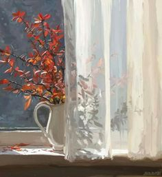 Pictures by Elena Yushina. Russian artist Elena Yushina lives in Simferopol. Thanks to her mother Elena fell in love with art. Light Painting, House Painting, Art Paintings, Watercolor Paintings, Relaxing Art, Nature Artists, Window Art, Still Life Art, Russian Art