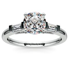 Baguette Diamond Engagement Ring in Platinum - Two tapered baguette diamonds are prong set in this platinum diamond engagement ring setting, accenting your choice of center diamond. Approximately 1/3 carat total diamond weight and proudly made in the USA.