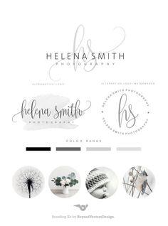 Premade Branding Kit - Photography Logo Set- Watermark - Handwritten initials - Elegant Signature -  Stamp Logo -  Logo Design Package 87