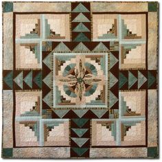 """Four Winds. 47 x 47"""", pattern by Sew Many Visions.  Uneven log cabin with center medallion and flying geese."""