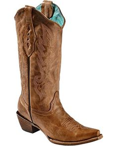 Corral Women's Vintage Leather Cowgirl Boot Snip Toe Tan 9.5 M US -- Check out the image by visiting the link.