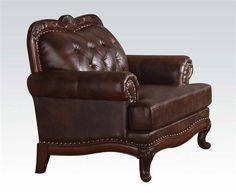 Birmingham Upholstery Dark Brown Grain Leather Wood Chair