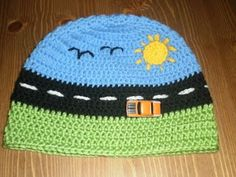 Boy's Beanie -- by Bugalugs Handmade.  Yarnjeannie on Crochetville made her version sewing cute little car, truck & airplane buttons on it.  Adorable!