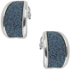 Blue Glitter Curve Stud ($7) ❤ liked on Polyvore featuring jewelry, earrings, navy, navy blue earrings, studded jewelry, metal jewelry, blue earrings and glitter earrings