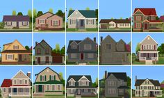 A collection of 15 Bespoke houses in a mix of styles. Sims 2 House, Sims 3 Worlds, Shoji White, Cottages And Bungalows, Narrow House, Only Play, Starter Home, Side Yards, Big Houses