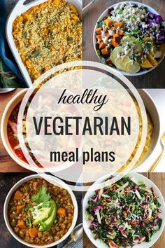 Healthy Vegetarian Meal Plans- weekly recipes with prep ahead tips, vegan/GF substitutions, and a color-coded shopping list!