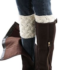 FAYBOX Winter Leg Warmer Crochet Knit Boot Socks Button Black