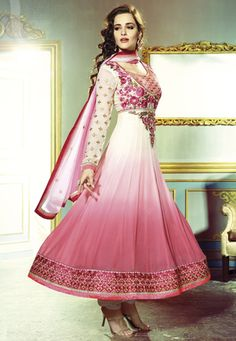 Shaded Pink Faux Georgette Anarkali Churidar Kameez