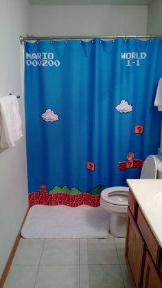 Mario brothers shower curtain.