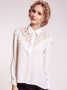 Dahlia Lillie White Lace Yoke Collar Blouse | Dahlia