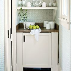 A petite kitchenette in a guest room is a convenient feature for guests.