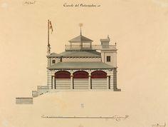 Spanish 18th & 19th century Architectural Sketches &c.: Embarcadero del estanque grande del Retiro {?} Waterfront retreat