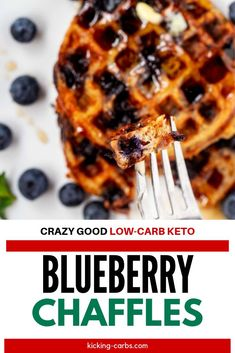 Start your day right with these delicious Blueberry Chaffles.  Keto breakfast recipes don't get any better than these delicious waffles with almond flour.  This easy low carb recipe is one you will turn to again and again.  #kickingcarbs #blueberrychaffles #chafflerecipe #chaffles #ketobreakfast Gluten Free Recipes For Breakfast, Best Gluten Free Recipes, Gluten Free Breakfasts, Low Carb Recipes, Quick And Easy Breakfast, Low Carb Breakfast, Breakfast Ideas, Keto Waffle, Waffle Recipes