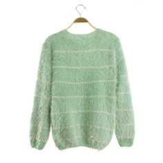 Striped Scoop Mohair Pullover Drape Short Sweater