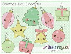 Christmas Ornaments - Chibi - Kawaii - Digital Clip Art for Personal and Commercial Use via Etsy