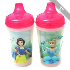 The First Years Disney Princess Insulated Sippy Cup with One Piece Lid 9 oz, 2pk