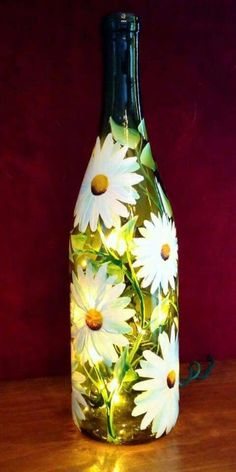 Alternatively than tossing those old bottles of wine, use them in a variety of wines bottle crafts. You can create lamps, decorative accent pieces, an. Painted Wine Bottles, Painted Wine Glasses, Old Bottles, Decorate Wine Bottles, Lighted Wine Bottles, Diy Bottle Lamp, Glass Bottle Crafts, Wine Bottle Lamps, Diy Projects With Wine Bottles