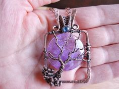 Tree of Life Pendant Lavender Amethyst and Blue by OurFrontYard, $37.77