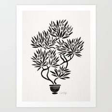 Bonsai Fruit Tree – Black Palette Art Print